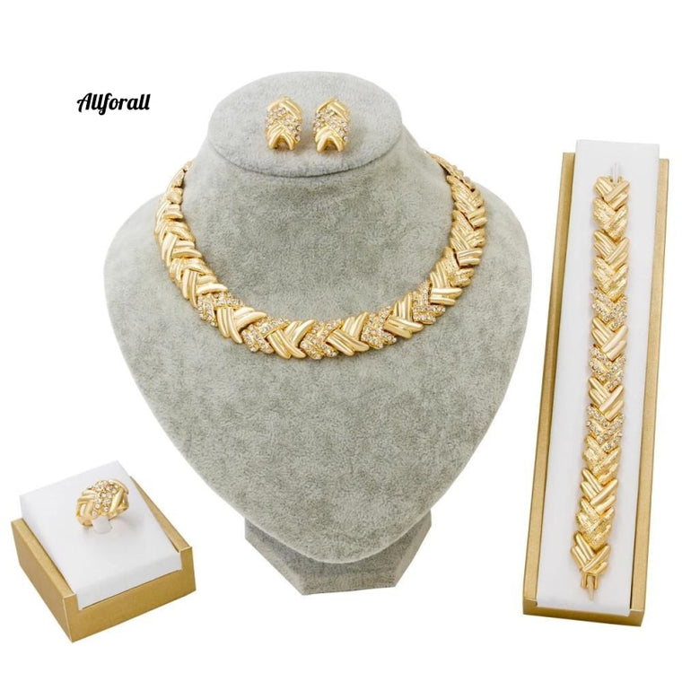 Bridal Dubai Gold Jewelry Set, Crystal Necklace Bracelet Wedding Party Women Fashion Jewelry Set