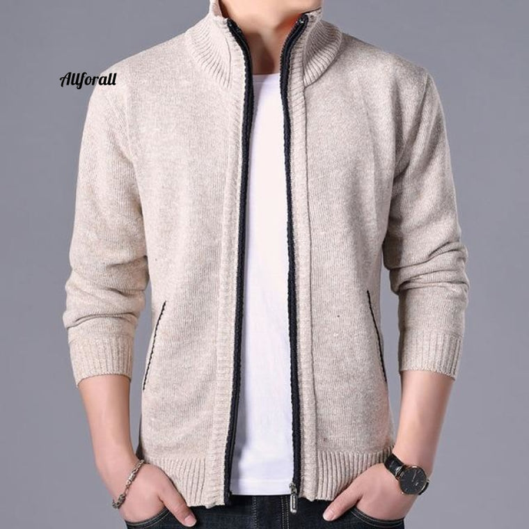 Cardigan Sweater, Winter Men Clothes, Solid Autumn Fashion Fit Thick Slim Keep Warm Solid Smart Casual Sweater