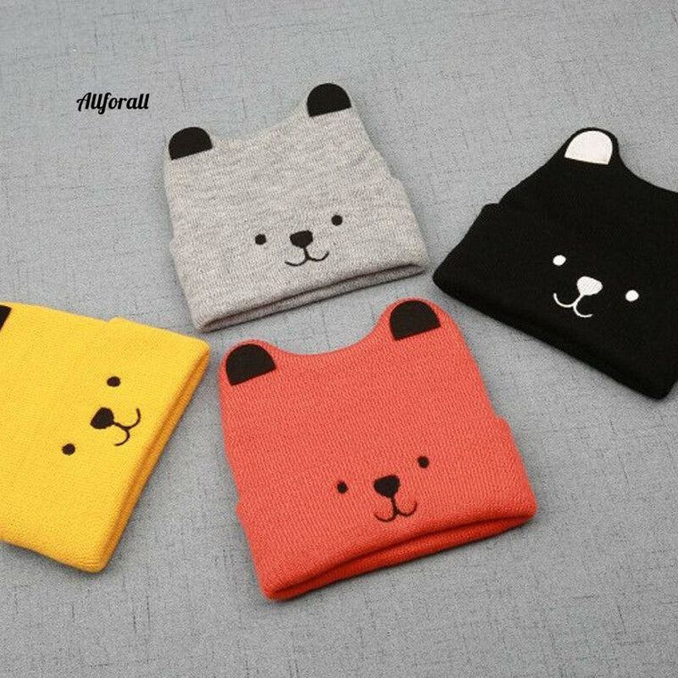 Cartoon Bear Hat For Kids, Winter Baby Toddler Unisex Warm Cute Beanie Hat