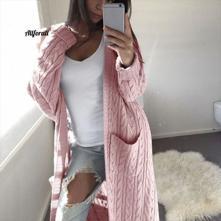 Casual Knitted Cardigan Coat, Women Big Pockets Sweater, Autumn Winter Long Warm Outwear Thick Twisted Sweaters