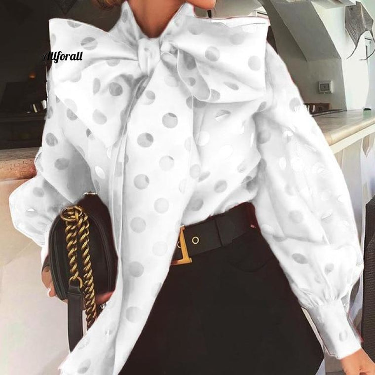 Casual Ruched Women Blouse, Bow Collar Lantern Long Sleeve Lace Up Shirt, Fashion Clothing Tide
