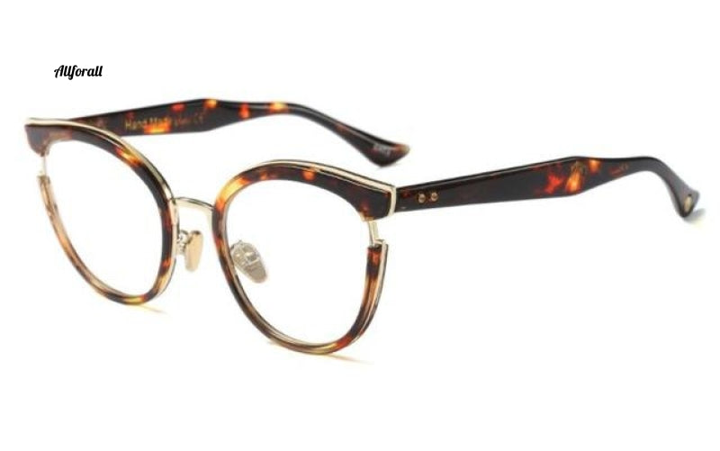 Cat Eye Optiske briller Mode Metal Recept Computer C2 Leopard Clear Eyeglass