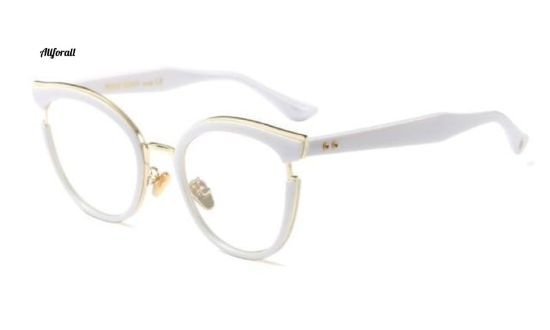 Cat Eye Optiske briller Fashion Metal Recept Computer C3 White Clear Eyeglass