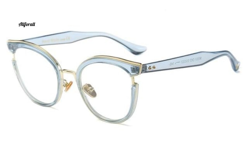 Cat Eye Optiske briller Fashion Metal Recept Computer C5 Blue Clear Eyeglass