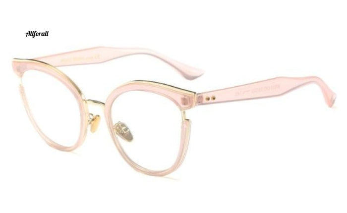Cat Eye Optiske briller Fashion Metal Recept Computer C7 Pink Clear Eyeglass