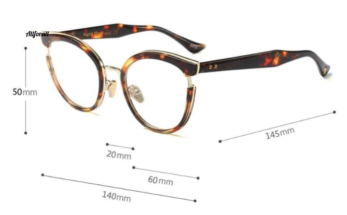 Cat Eye Optiske briller Mode Metal Recept Computer Brille