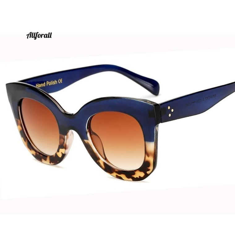Cat Eye Vintage Sunglasses, Women Fashion Leopard Sexy Ladies Eye-wear, UV400 Goggles Oval Glasses
