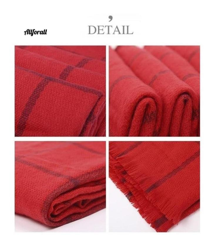 Cheshanf Women Plaid Warm Scarf, Winter Scarves Shawls Stoles Blanket Luxury Brand Scarf Scarf allforall