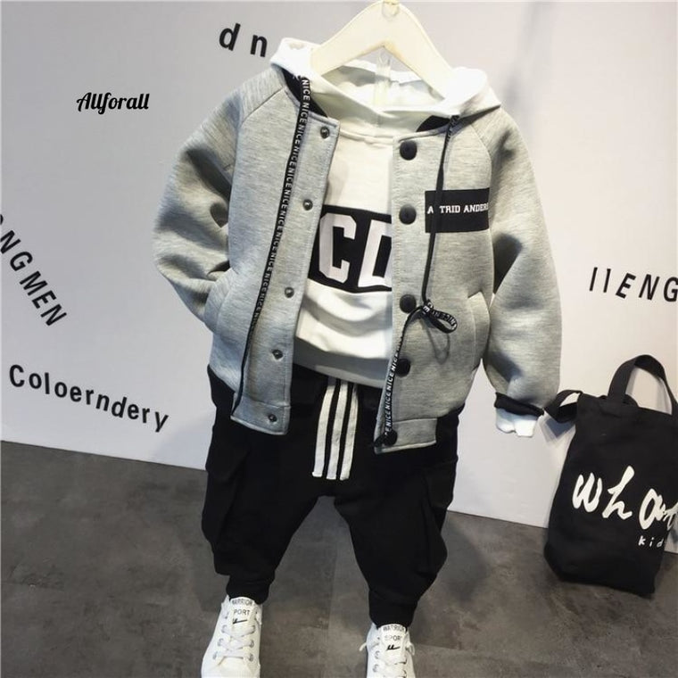 Children Cotton Baby Baseball Jacket + Hoodie + Pants, 3pcs Clothing Set, Autumn Winter Baby Boy Suit