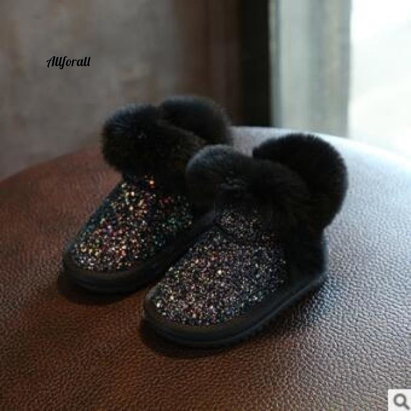 Children Snow Boot, Girls Rabbit Fur Boot, Baby Cotton Shoes, Sequins Genuine Leather Boot Girls Winter Boot allforall Black 6.5