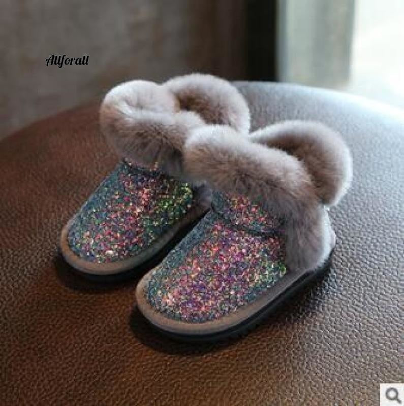 Children Snow Boot, Girls Rabbit Fur Boot, Baby Cotton Shoes, Sequins Genuine Leather Boot Girls Winter Boot allforall Light Blue 6.5