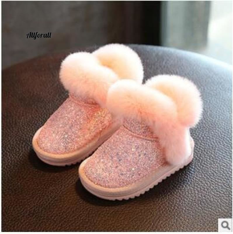 Children Snow Boot, Girls Rabbit Fur Boot, Baby Cotton Shoes, Sequins Genuine Leather Boot Girls Winter Boot allforall Pink 6.5