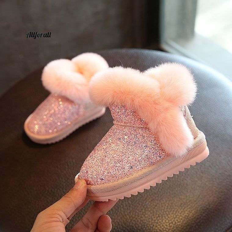 Children Snow Boot, Girls Rabbit Fur Boot, Baby Cotton Shoes, Sequins Genuine Leather Boot