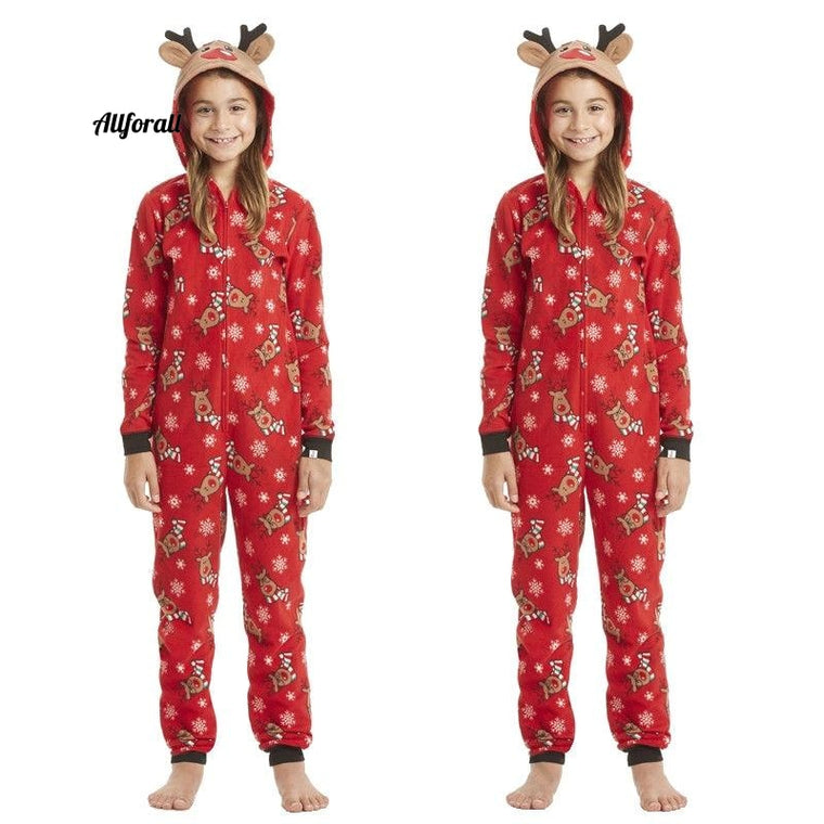 Christmas Jumpsuit Pajamas with Deer Mother Kids Matching Family Outfits, New Year Mom Daughter Father Son Sister Clothes