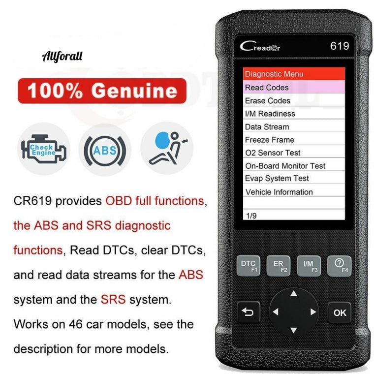 CR619 OBD2 Car Diagnostic Tool, Engine ABS SRS Airbag Read Clear Clear Error Code Auto Scanner, OBD 2 Scanner Δωρεάν ενημέρωση