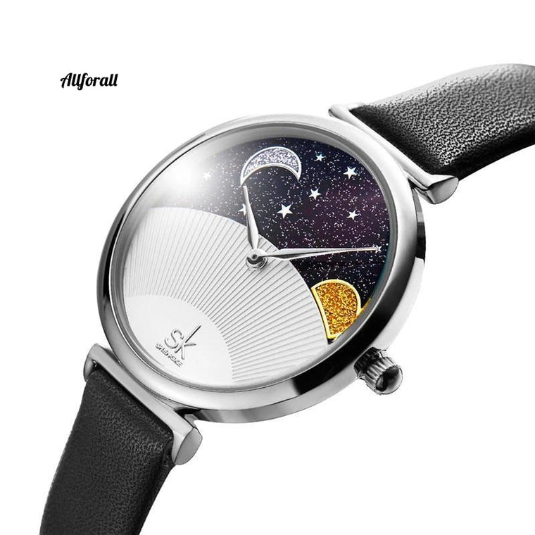 Creative Casual Women Watches, Starry Sky Moon and Sun Unique Shell Elegant Lady Waterproof Leather Watches