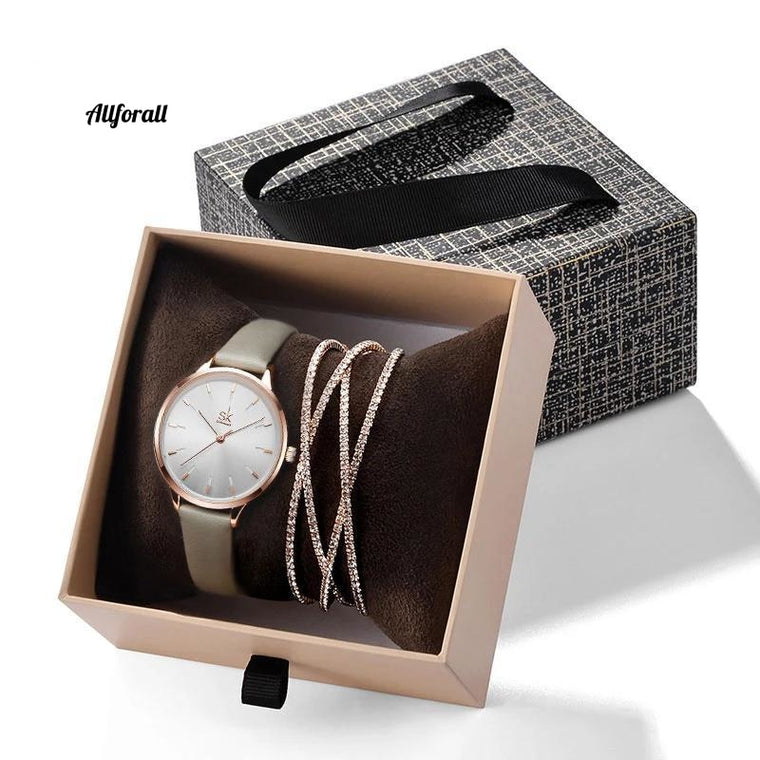 Creative Silver Quartz Watch, Women Bracelet Set, Ladies Watches Gift Jewelry Set