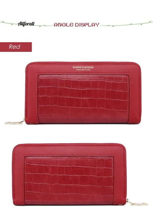 Crocodile Pattern Women Long Wristband Clutch Large Pu Leather Wallet
