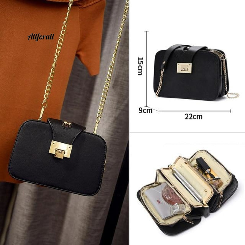 Cross-body Shoulder Bag, Mini Women Phone Pocket Chain PU Faux Leather Handbag