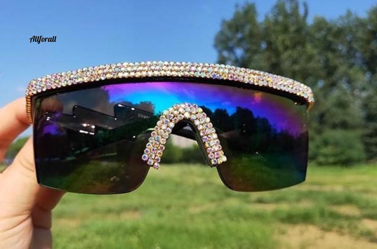 Crystal Luxury Oversized Sonnenbrille, Strass One Piece Sonnenbrille