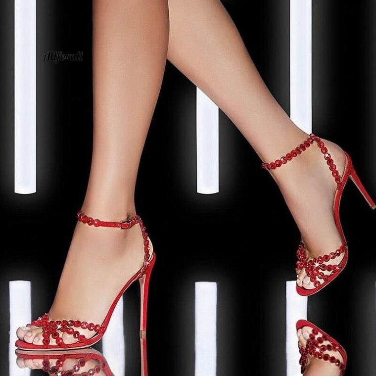 Kristallstilettosandaler, Fancy Diamond Peep Toe Cut Out Ankel Strap Thin High Heel Sandals