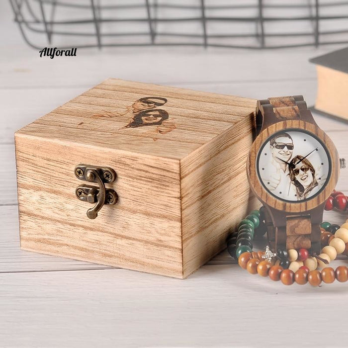 Custom LOGO Printing Your Own Photo Men Watch, Unique Bamboo Wood Wristwatch Creative Gift For Lovers