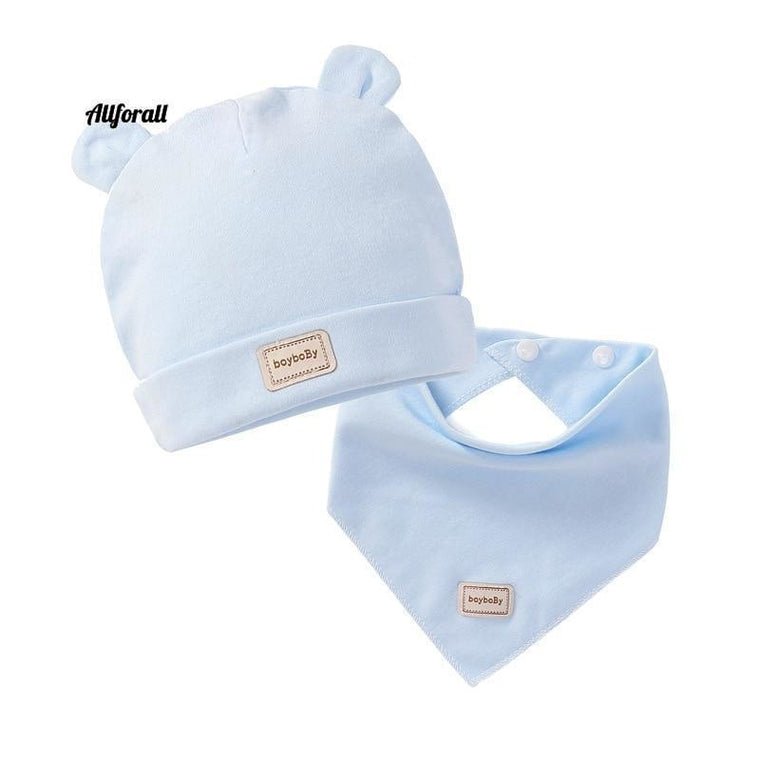Cute Kids Hat Cap With Bibs, Candy Solid Colors Boys & Girls Baby Beanies Hats, Cotton Born Baby Hat