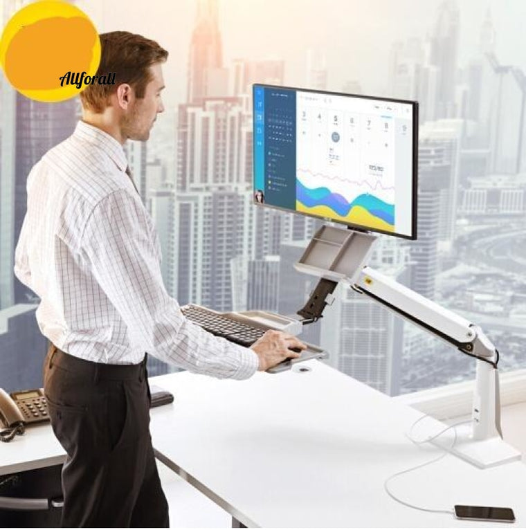 Desktop Sit Stand Workstation Long Arm Extension, 1030mm Ergonomic 22-35 inch Holder Monitor with Tray Keyboard