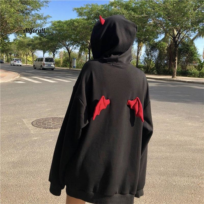 Devil Wing Hooded Women Fleece Sweatshirt, Casual Loose Long Sleeve Hoodies, Sweatshirt Female Autumn Warm Top