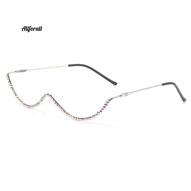 Diamond Steampunk Sunglasses Frame, Vintage Curved Eyeglasses Frame Eyewear Decoration