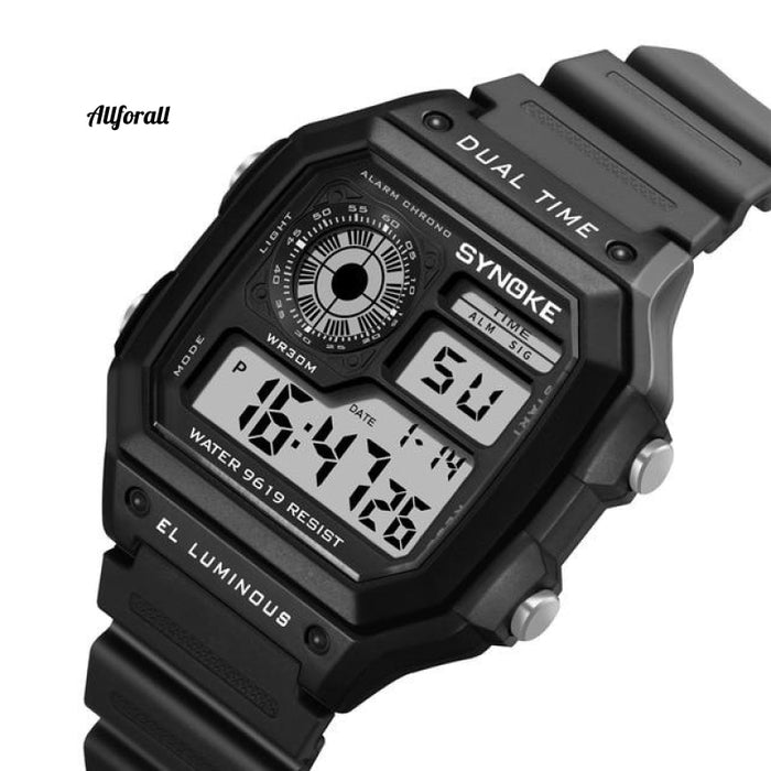 Digital Watche Sports Luminous Chronograph Waterproof Ultradunne elektronische horloges Zwart