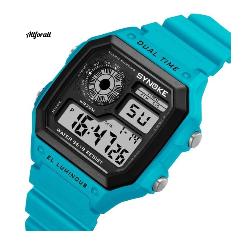 Digital Watche Sports Lichtgevende chronograaf Waterproof Ultradunne elektronische horloges Blue Smart