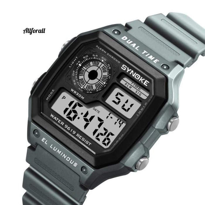 Digital Watche Sports Luminous Chronograph Waterproof Ultradunne elektronische horloges Grijs Smart
