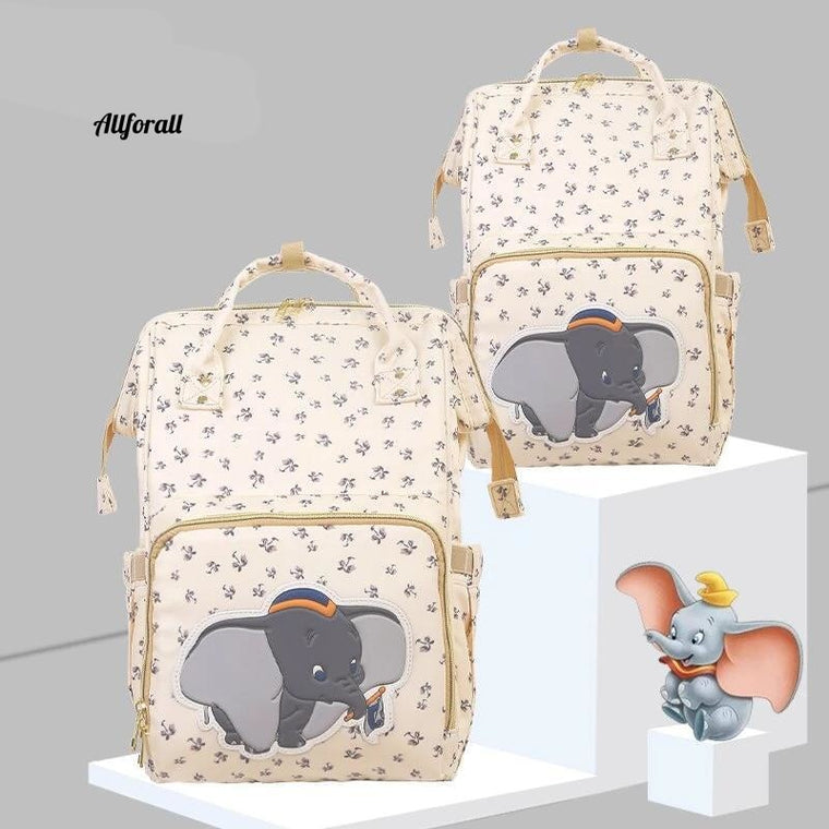 Disney Beige Cute Dumbo USB Diaper Bag, Waterproof Backpack Maternity/Nappy Bag For Mom, Travel Nursing Luxury Bag