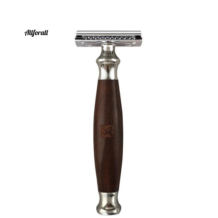 Double Edge Blade, Wood Handle Stainless Men Safety Razor