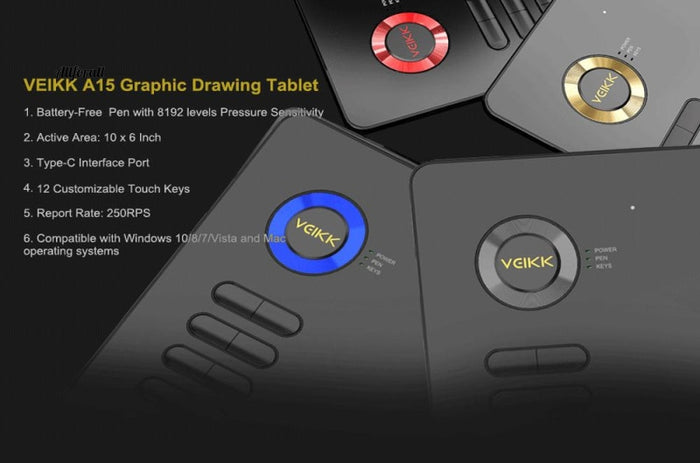 Drawing Tablet, A15 Graphic 10x6 inches Digital Drawing Pad For Artists, 8192 Levels Pressure with a Glove FOR FREE