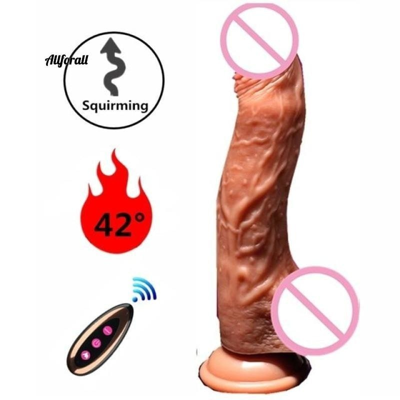 Electric Heating Vibrating Huge Penis, G Spot Sex Toy for Women, USB Rechargeable, Wireless Dildo Vibrators allforall A