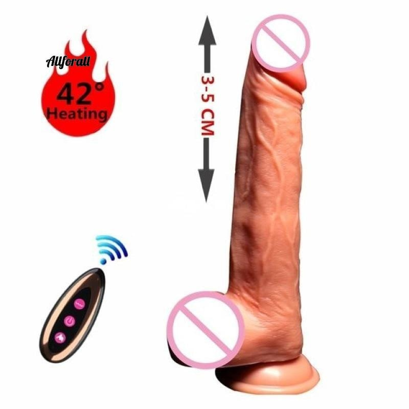 Electric Heating Vibrating Huge Penis, G Spot Sex Toy for Women, USB Rechargeable, Wireless Dildo Vibrators allforall B