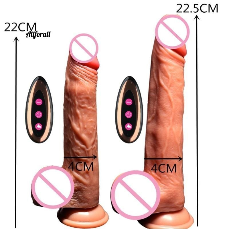 Electric Heating Vibrating Huge Penis, G Spot Sex Toy for Women, USB Rechargeable, Wireless Dildo Vibrators allforall
