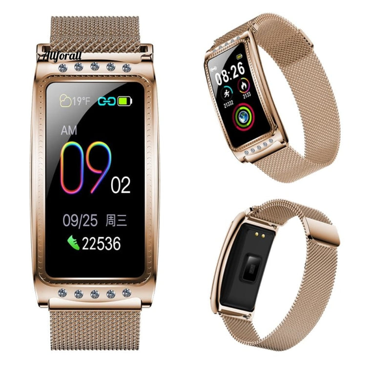F28 Dames Smart Watch voor Android IOS, hartslagmeting Bloeddrukmeter Waterdichte armband