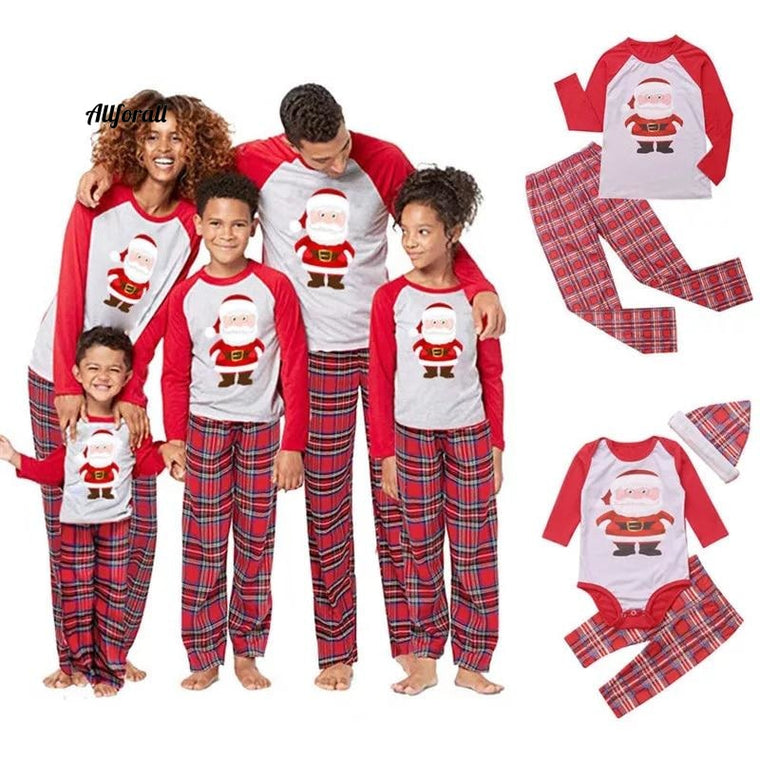 Family Christmas Pajamas, Winter Matching Long Sleeves Red Clothes, Mom Dad Kid Pajama's Set