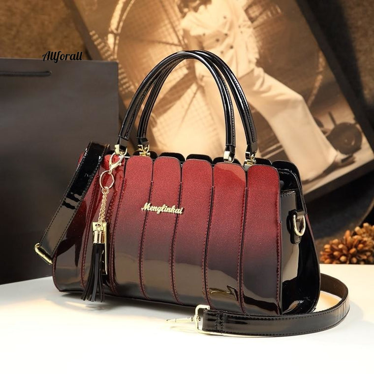 Fashion Atmospheric Patent Leather Messenger Handbag, High Quality Casual Tote Ladies Party Crossbody Bag