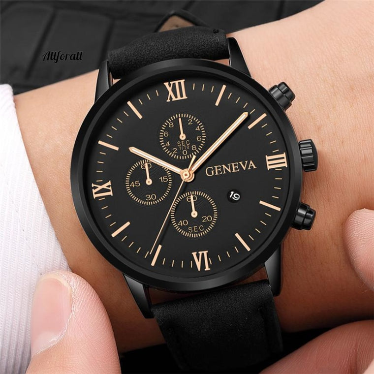 Fashion Geneva Men Date Alloy Case Synthetic Leather Analog Quartz Sport Watch, Male Clock Top Brand Luxury