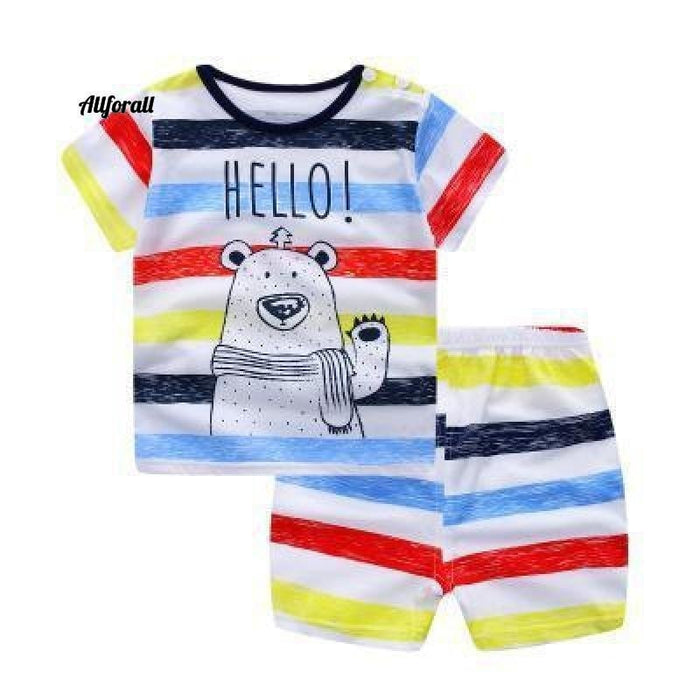 Fashion Lovely Baby Boy & Girl Sommer Säuglingsbekleidung, gestreifte Shorts + gelbe Top-T-Shirts Kleidung Babykleidung allforall gestreifter Bär 12M