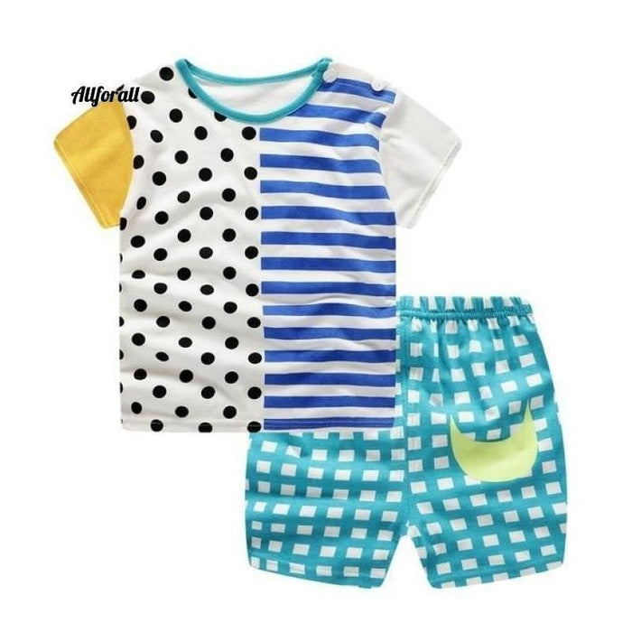 Fashion Lovely Baby Boy & Girl Sommer Säuglingsbekleidung, gestreifte Shorts + gelbe Top-T-Shirts Kleidung Babykleidung allforall dot 12M