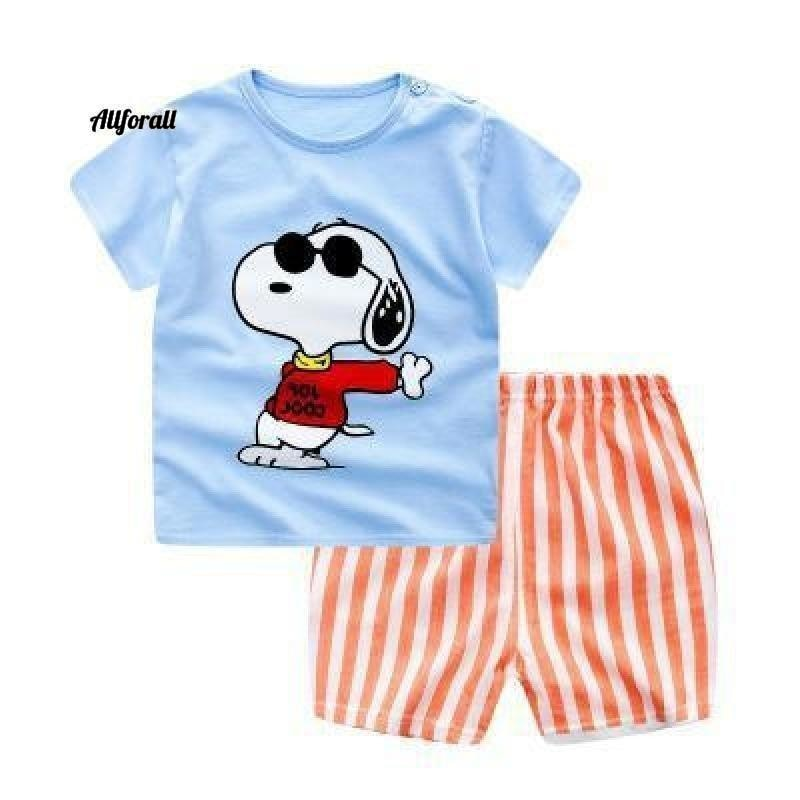 Fashion Lovely Baby Boy & Girl Sommer Säuglingskleidung, gestreifte Shorts + gelbe Top-T-Shirts Kleidung Babykleidung allforall snoopy 12M