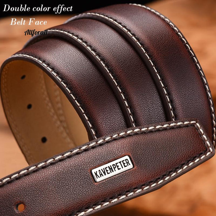 Fashion Men Genuine Leather Luxury Designer Brown Vintage Belt, Cinturon Cowboy Belt
