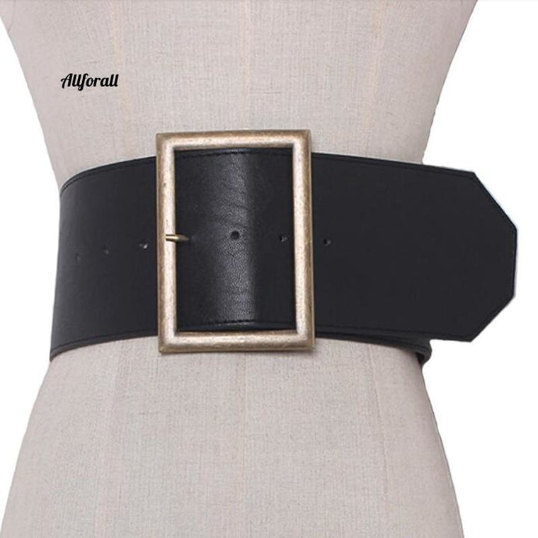 Fashion Metal Buckle Wide Leather Belt, Punk Cool Exaggerate Heavy Metal Wide Belt, Hip Hop Leather PU Belt