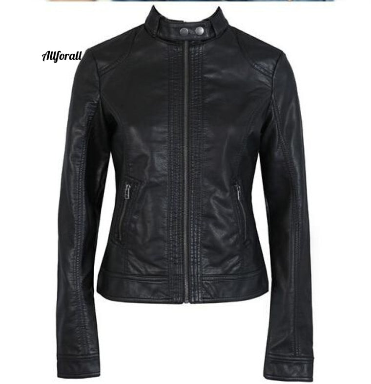 Fashion New Women Jacket, European Fashion Leather Pimkie Cleaning Single PU Leather Jacket
