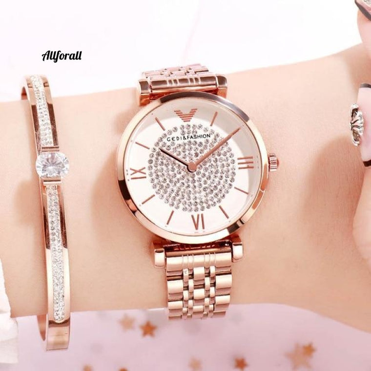 Fashion Quartz Watches for Women, Top Luxury Ladies Wristwatch, Rose Gold Simple Alloy Strap